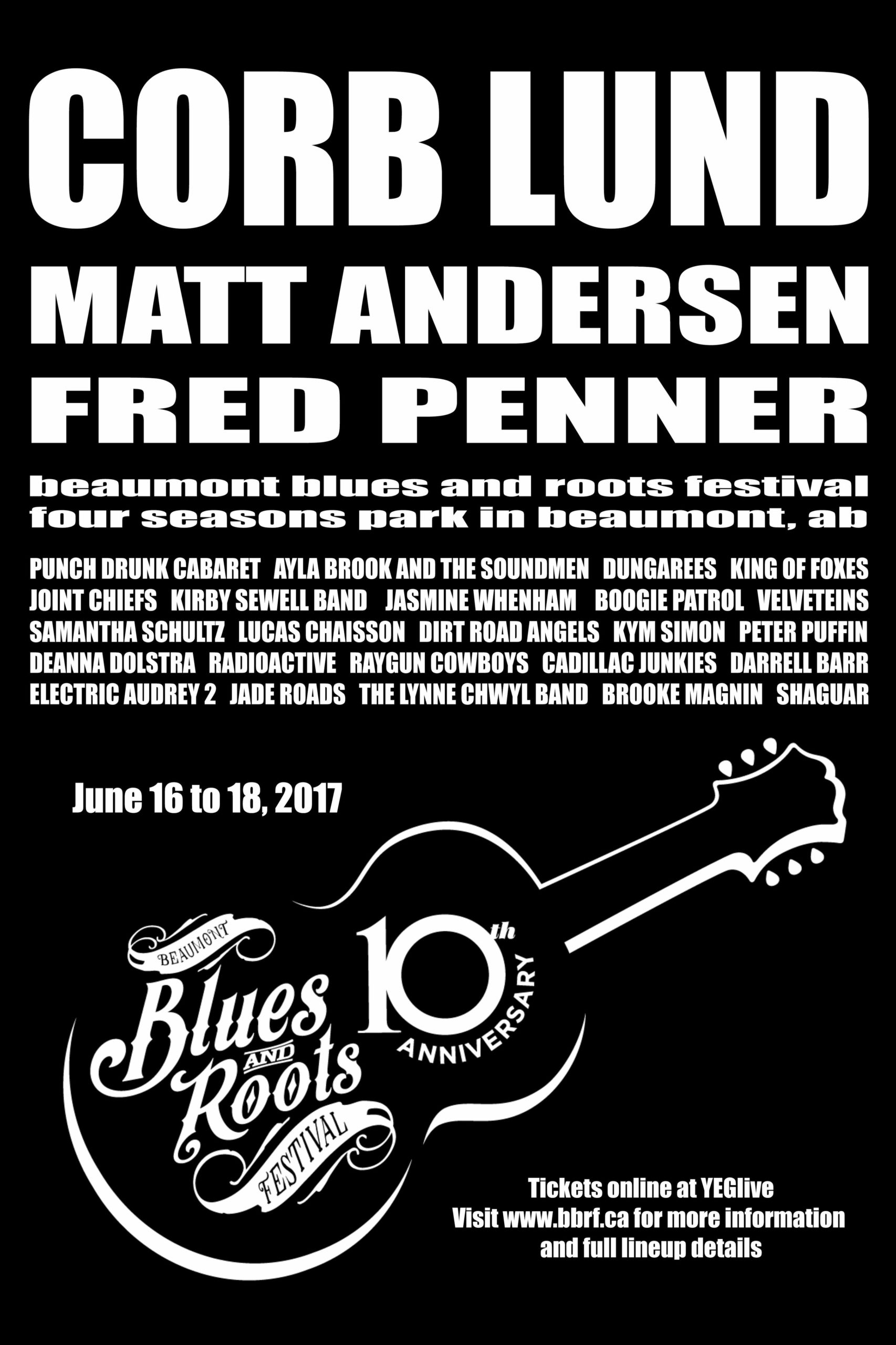 The Beaumont Blues & Roots Festival poster 2017 black