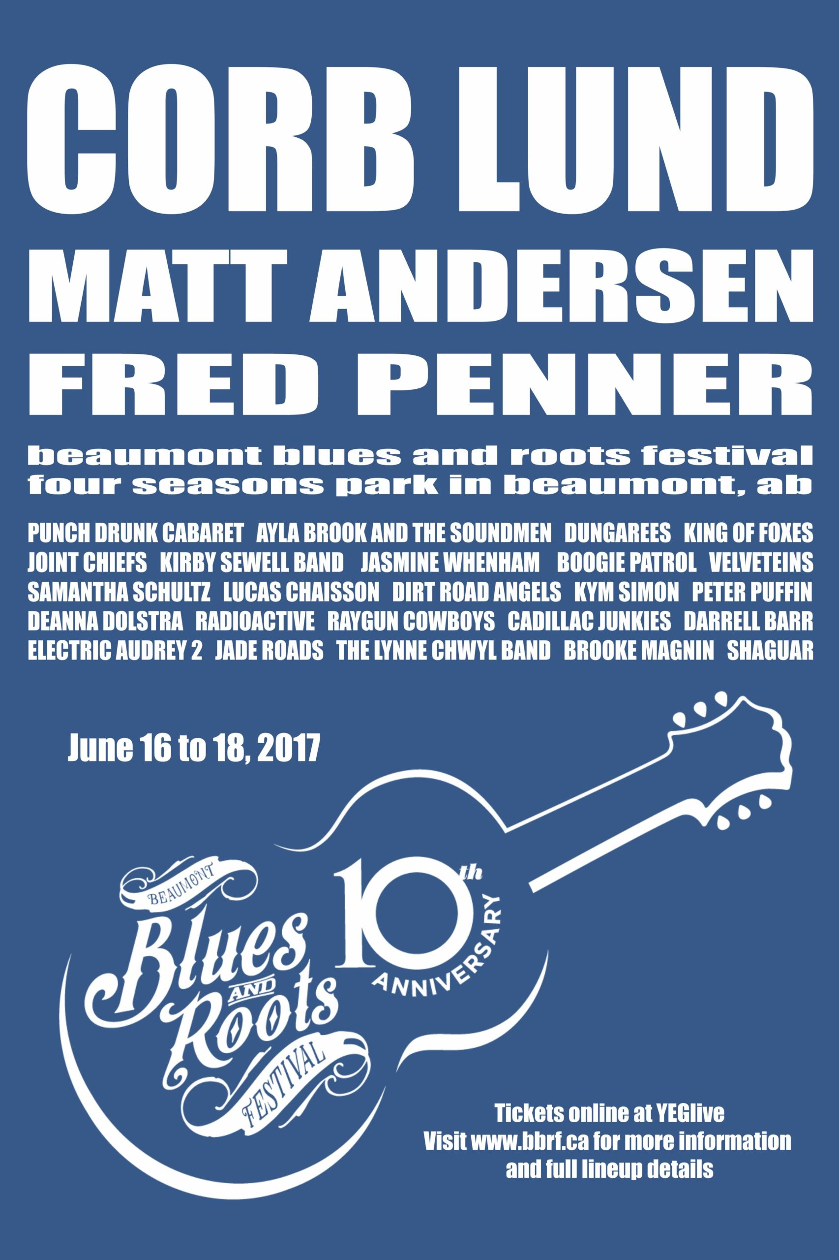 The Beaumont Blues & Roots Festival poster 2017 blue