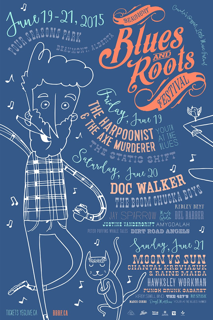 The Beaumont Blues & Roots Festival poster 2015 blue
