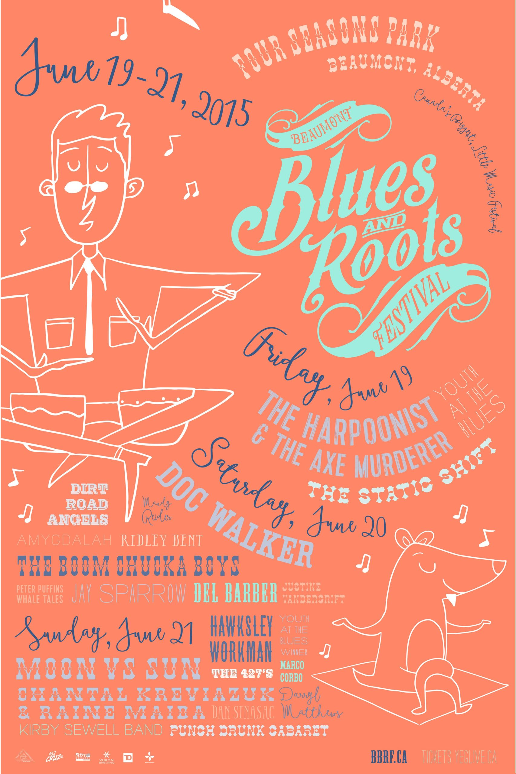 The Beaumont Blues & Roots Festival poster 2015 orange