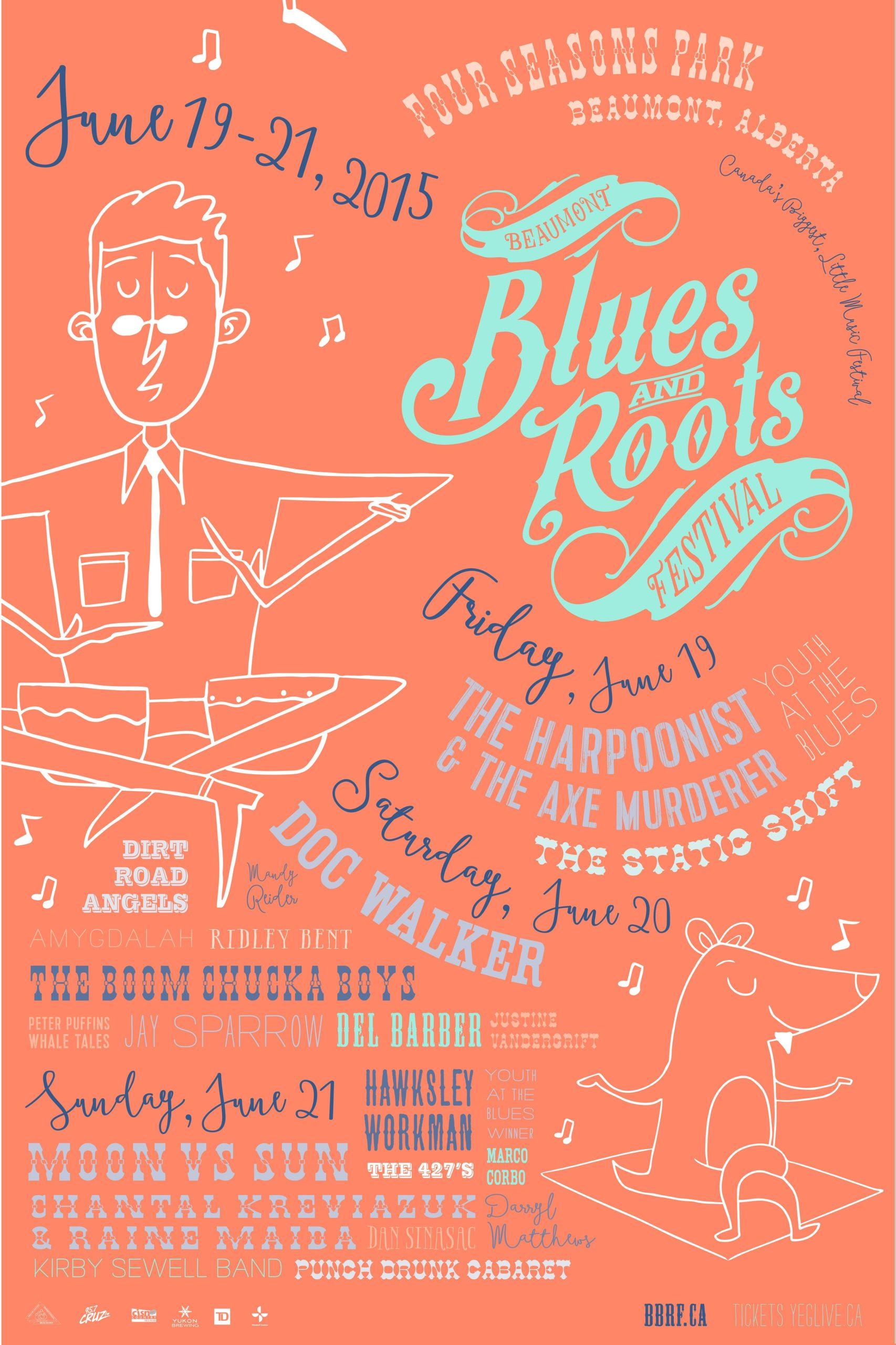 The Beaumont Blues & Roots Festival poster 2015 orange