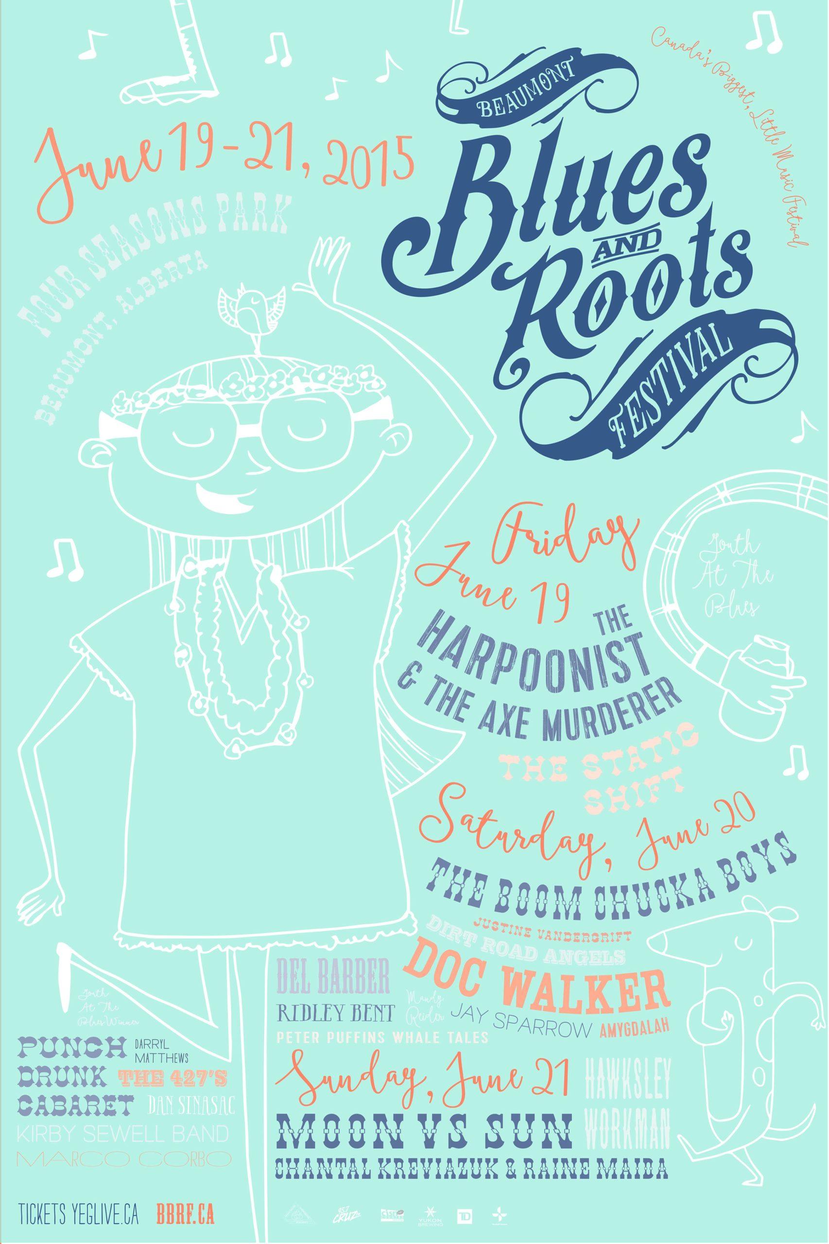 The Beaumont Blues & Roots Festival poster 2015 Aqua