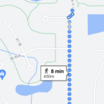 Map of walk from school to park